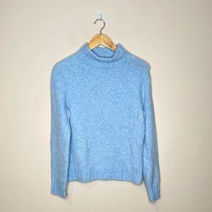J Crew Point Sur Mockneck Super Soft Blue Sweater